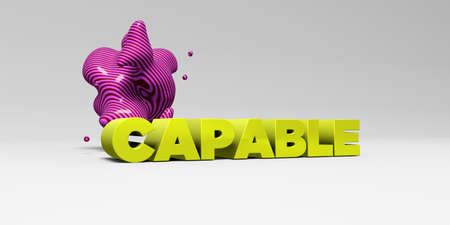 CAPABLE -  color type on white studiobackground with design element - 3D rendered royalty free stock picture. This image can be used for an online website banner ad or a print postcard.