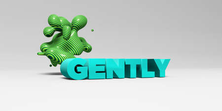 gently: GENTLY -  color type on white studiobackground with design element - 3D rendered royalty free stock picture. This image can be used for an online website banner ad or a print postcard.