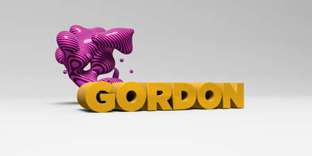 GORDON -  color type on white studiobackground with design element - 3D rendered royalty free stock picture. This image can be used for an online website banner ad or a print postcard.