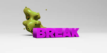 BREAK -  color type on white studiobackground with design element - 3D rendered royalty free stock picture. This image can be used for an online website banner ad or a print postcard.