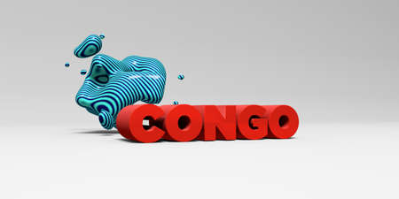 CONGO -  color type on white studiobackground with design element - 3D rendered royalty free stock picture. This image can be used for an online website banner ad or a print postcard.