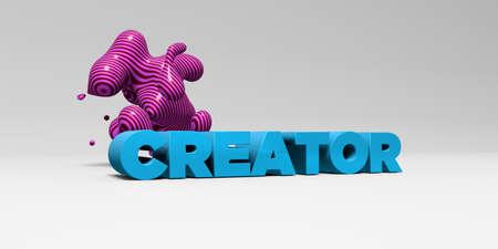 creador: Tipo de color en studiobackground blanco con elementos de diseño - - CREADOR 3D representa la imagen de stock libre de derechos. Esta imagen se puede utilizar para un anuncio bandera del Web site en línea o una postal de impresión. Foto de archivo