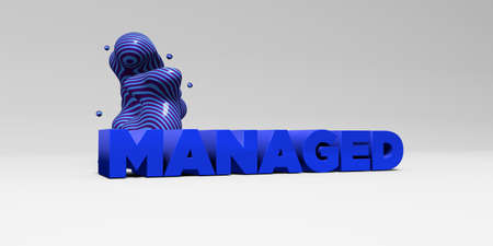 managed: MANAGED -  color type on white studiobackground with design element - 3D rendered royalty free stock picture. This image can be used for an online website banner ad or a print postcard.