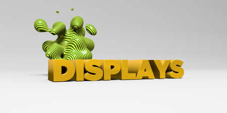displays: DISPLAYS -  color type on white studiobackground with design element - 3D rendered royalty free stock picture. This image can be used for an online website banner ad or a print postcard. Stock Photo