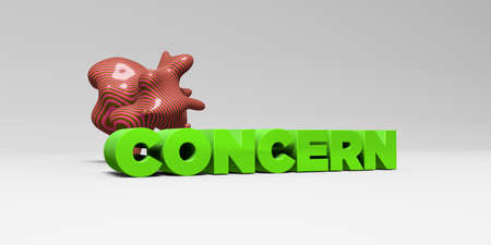 concern: CONCERN -  color type on white studiobackground with design element - 3D rendered royalty free stock picture. This image can be used for an online website banner ad or a print postcard.