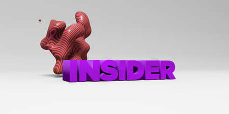 insider: INSIDER -  color type on white studiobackground with design element - 3D rendered royalty free stock picture. This image can be used for an online website banner ad or a print postcard. Stock Photo
