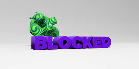 BLOCKED -  color type on white studiobackground with design element - 3D rendered royalty free stock picture. This image can be used for an online website banner ad or a print postcard. Stock Photo