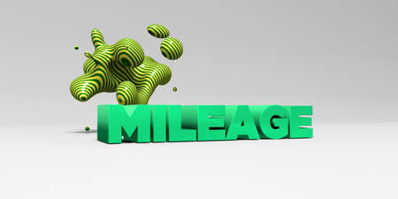 mileage: MILEAGE -  color type on white studiobackground with design element - 3D rendered royalty free stock picture. This image can be used for an online website banner ad or a print postcard. Stock Photo