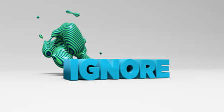 ignore: IGNORE -  color type on white studiobackground with design element - 3D rendered royalty free stock picture. This image can be used for an online website banner ad or a print postcard.
