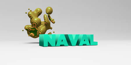 naval: NAVAL -  color type on white studiobackground with design element - 3D rendered royalty free stock picture. This image can be used for an online website banner ad or a print postcard. Stock Photo