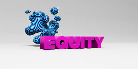 EQUITY -  color type on white studiobackground with design element - 3D rendered royalty free stock picture. This image can be used for an online website banner ad or a print postcard. Stock Photo