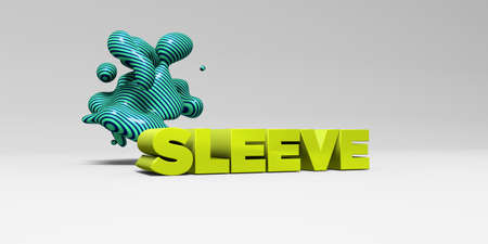 SLEEVE -  color type on white studiobackground with design element - 3D rendered royalty free stock picture. This image can be used for an online website banner ad or a print postcard.