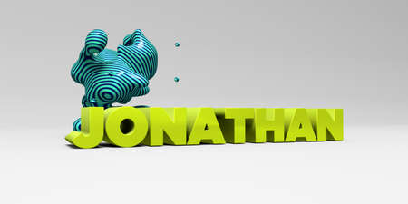 JONATHAN -  color type on white studiobackground with design element - 3D rendered royalty free stock picture. This image can be used for an online website banner ad or a print postcard.