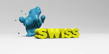 SWISS -  color type on white studiobackground with design element - 3D rendered royalty free stock picture. This image can be used for an online website banner ad or a print postcard.