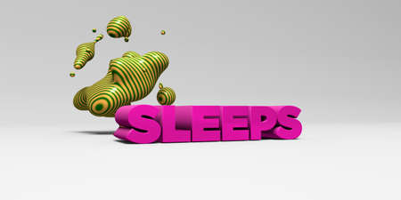 sleeps: SLEEPS -  color type on white studiobackground with design element - 3D rendered royalty free stock picture. This image can be used for an online website banner ad or a print postcard.