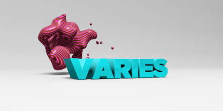 VARIES -  color type on white studiobackground with design element - 3D rendered royalty free stock picture. This image can be used for an online website banner ad or a print postcard.