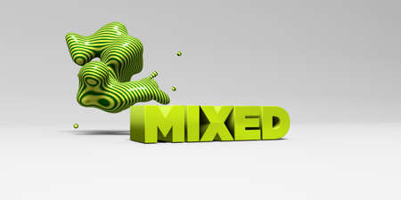 MIXED -  color type on white studiobackground with design element - 3D rendered royalty free stock picture. This image can be used for an online website banner ad or a print postcard. Фото со стока