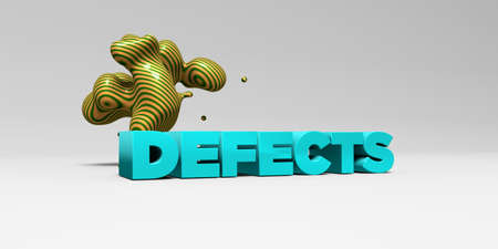 defects: DEFECTS -  color type on white studiobackground with design element - 3D rendered royalty free stock picture. This image can be used for an online website banner ad or a print postcard.