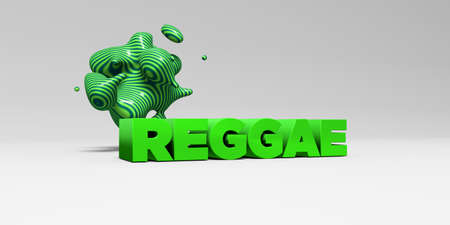 REGGAE -  color type on white studiobackground with design element - 3D rendered royalty free stock picture. This image can be used for an online website banner ad or a print postcard. Imagens
