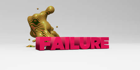 FAILURE -  color type on white studiobackground with design element - 3D rendered royalty free stock picture. This image can be used for an online website banner ad or a print postcard.