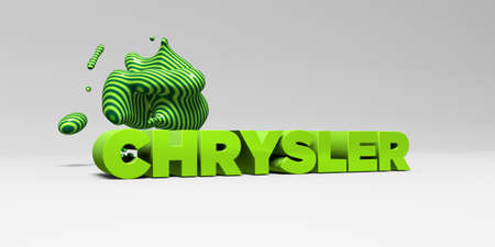 CHRYSLER -  color type on white studiobackground with design element - 3D rendered royalty free stock picture. This image can be used for an online website banner ad or a print postcard.