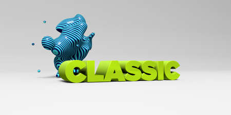 CLASSIC -  color type on white studiobackground with design element - 3D rendered royalty free stock picture. This image can be used for an online website banner ad or a print postcard.