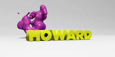 howard: HOWARD -  color type on white studiobackground with design element - 3D rendered royalty free stock picture. This image can be used for an online website banner ad or a print postcard.