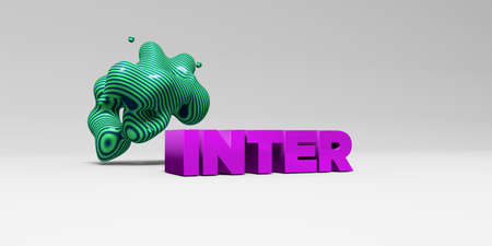 inter: INTER -  color type on white studiobackground with design element - 3D rendered royalty free stock picture. This image can be used for an online website banner ad or a print postcard.