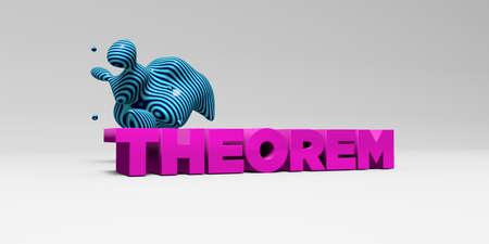 teorema: THEOREM -  color type on white studiobackground with design element - 3D rendered royalty free stock picture. This image can be used for an online website banner ad or a print postcard. Foto de archivo