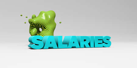 SALARIES -  color type on white studiobackground with design element - 3D rendered royalty free stock picture. This image can be used for an online website banner ad or a print postcard.