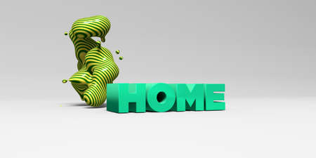 HOME -  color type on white studiobackground with design element - 3D rendered royalty free stock picture. This image can be used for an online website banner ad or a print postcard. Imagens