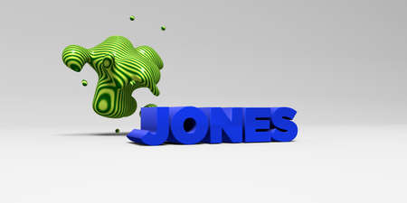 JONES -  color type on white studiobackground with design element - 3D rendered royalty free stock picture. This image can be used for an online website banner ad or a print postcard. Stock Photo