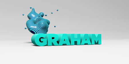 Graham: GRAHAM -  color type on white studiobackground with design element - 3D rendered royalty free stock picture. This image can be used for an online website banner ad or a print postcard.
