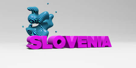 SLOVENIA -  color type on white studiobackground with design element - 3D rendered royalty free stock picture. This image can be used for an online website banner ad or a print postcard.