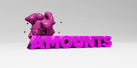 AMOUNTS -  color type on white studiobackground with design element - 3D rendered royalty free stock picture. This image can be used for an online website banner ad or a print postcard.