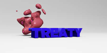treaty: TREATY -  color type on white studiobackground with design element - 3D rendered royalty free stock picture. This image can be used for an online website banner ad or a print postcard.