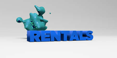rentals: RENTALS -  color type on white studiobackground with design element - 3D rendered royalty free stock picture. This image can be used for an online website banner ad or a print postcard.