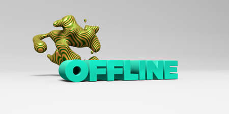 offline: OFFLINE -  color type on white studiobackground with design element - 3D rendered royalty free stock picture. This image can be used for an online website banner ad or a print postcard.