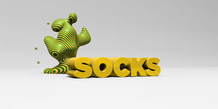 SOCKS -  color type on white studiobackground with design element - 3D rendered royalty free stock picture. This image can be used for an online website banner ad or a print postcard.