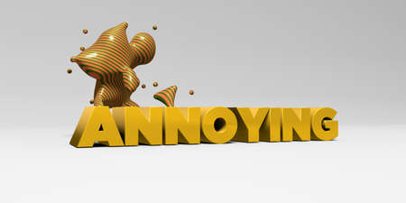 copy text: ANNOYING -  color type on white studiobackground with design element - 3D rendered royalty free stock picture. This image can be used for an online website banner ad or a print postcard.