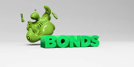 bonds: BONDS -  color type on white studiobackground with design element - 3D rendered royalty free stock picture. This image can be used for an online website banner ad or a print postcard.