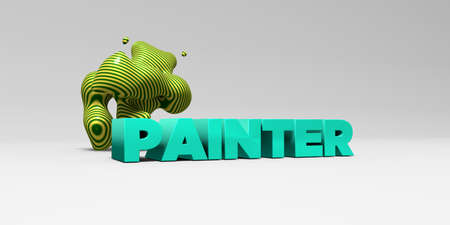 PAINTER -  color type on white studiobackground with design element - 3D rendered royalty free stock picture. This image can be used for an online website banner ad or a print postcard.