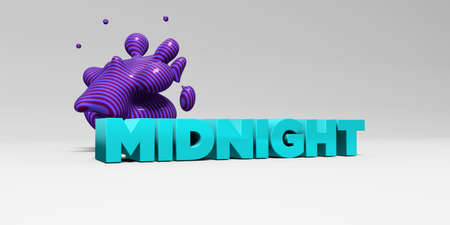 MIDNIGHT -  color type on white studiobackground with design element - 3D rendered royalty free stock picture. This image can be used for an online website banner ad or a print postcard. Imagens