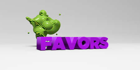 FAVORS -  color type on white studiobackground with design element - 3D rendered royalty free stock picture. This image can be used for an online website banner ad or a print postcard.