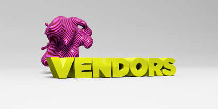 VENDORS -  color type on white studiobackground with design element - 3D rendered royalty free stock picture. This image can be used for an online website banner ad or a print postcard.