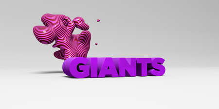 GIANTS -  color type on white studiobackground with design element - 3D rendered royalty free stock picture. This image can be used for an online website banner ad or a print postcard.