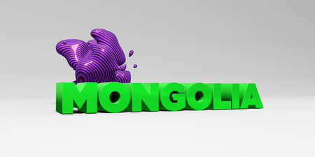 MONGOLIA -  color type on white studiobackground with design element - 3D rendered royalty free stock picture. This image can be used for an online website banner ad or a print postcard.