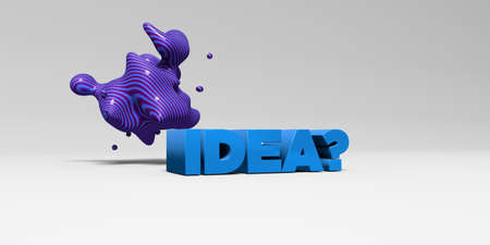 IDEA? -  color type on white studiobackground with design element - 3D rendered royalty free stock picture. This image can be used for an online website banner ad or a print postcard.