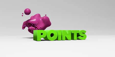 POINTS -  color type on white studiobackground with design element - 3D rendered royalty free stock picture. This image can be used for an online website banner ad or a print postcard.
