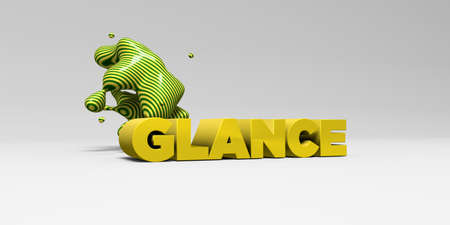 glance: GLANCE -  color type on white studiobackground with design element - 3D rendered royalty free stock picture. This image can be used for an online website banner ad or a print postcard. Stock Photo